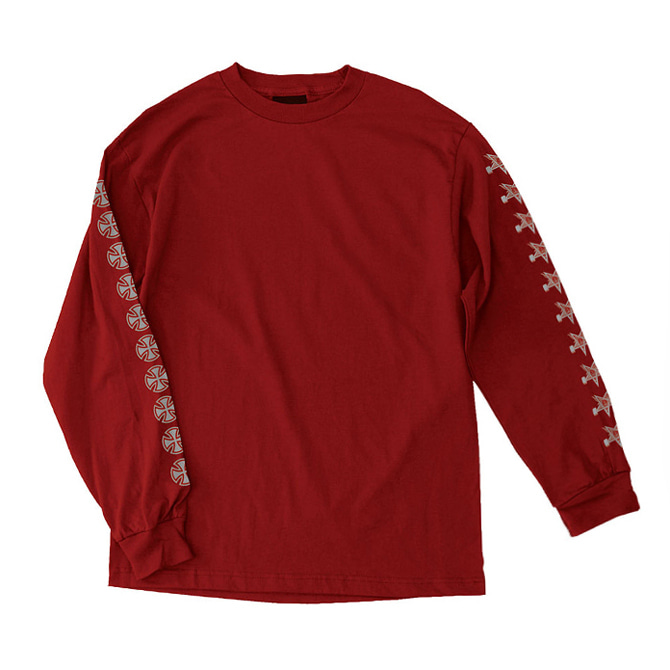 INDEPENDENT X THRASHER PANTAGRAM CROSS L/S - RED