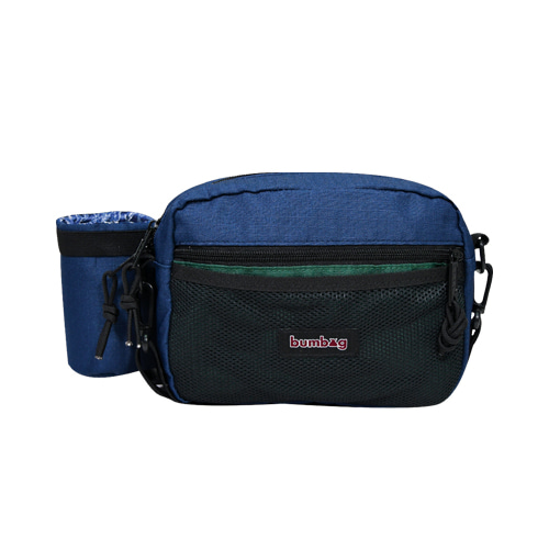BUMBAG LOUIE LOPEZ COMPACT XL SHOULDER BAG WITH BOTTLE HOLDER - FOREST GREEN/NAVY