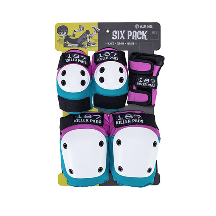 187 KILLER PADS SIX PACK - PINK/TEAL [JUNIOR]