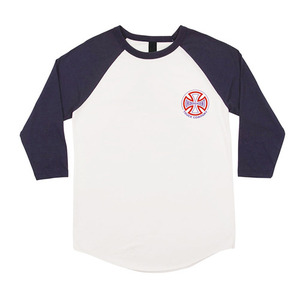 INDEPENDENT TWO TONE RAGLAN 3/4 SLEEVE - WHITE/NAVY